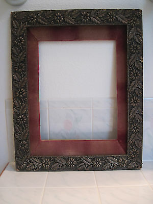 "Gesso antique wood picture frame black gold leaves flowers berries 20.5"" x 16.5"""