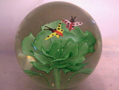 Vintage Art Glass Paperweight Butterfly & Green Flower Design Maybe Murano