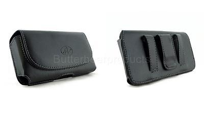 Black Leather Sideways Holster Belt Clip Pouch Case Cover for TMobile Verizon LG