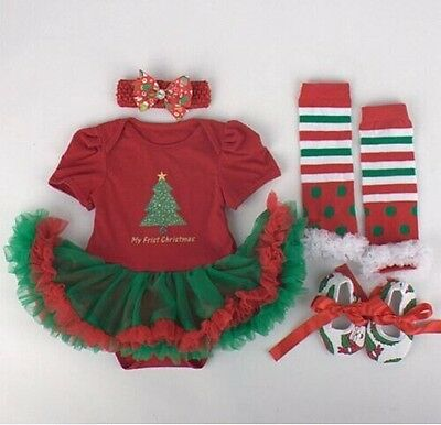 Newborn Infant Baby Girl Headband+Romper+Leg Warmer+Shoes Christmas Clothes 3-6M