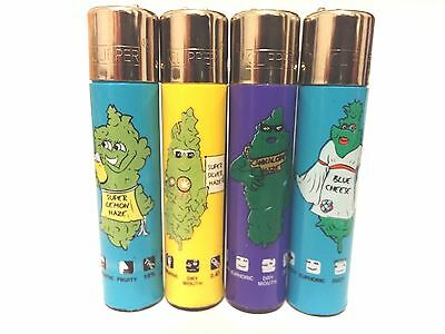 CLIPPER Cannabis COOL 4pcs Brand Full Size Refillable Original Lighters.