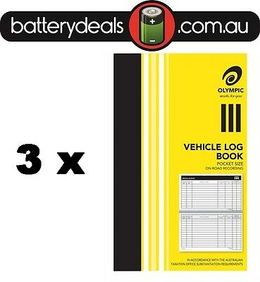3 Olympic Pocket Vehicle Log Book 180 x 110mm 64 Page Car truck ATO requirements