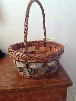 Rustic Handcrafted Woven Wicker Handled Basket Birch Bark Sides