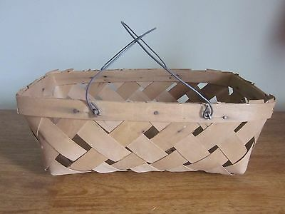 VINTAGE  FARM BASKET WITH WIRE BAIL HANDLES