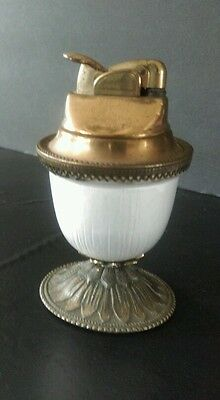 VINTAGE EVANS ART DECO OPAL AND BRASS ART GLASS EGG TABLE LIGHTER