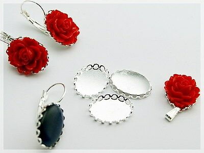 4 Cabochons als Blume in rot, 18 x 13 mm