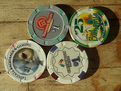Lot #2 of 4 Paulson Top Hat & Cane Casino Poker Chips Regulation Weight