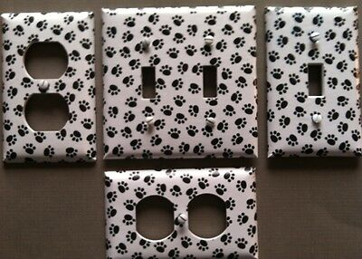 Paw Prints Light Switch Cover Plate Animal Tracks Dog Cat Lovers
