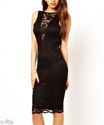 Women's Sexy Open Back Lace V neck Party Club Wear Cocktail Evening Midi Dress