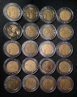 MEXICO COIN LOT - Bi-Metal Peso Coins - Lot of 20 - Unsearched - FREE SHIPPING