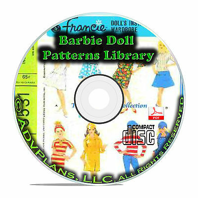 1000+ Patterns, Make Your Own Barbie Doll Clothes Classic Vintage Designs CD B71