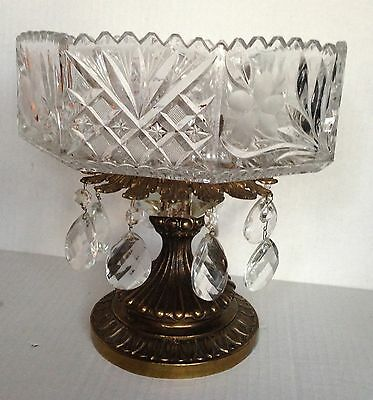 """Antique Brass  Heavy Crystal Cut Compote Bowl  Hanging Drop Prisms Large 10""""x 10"""