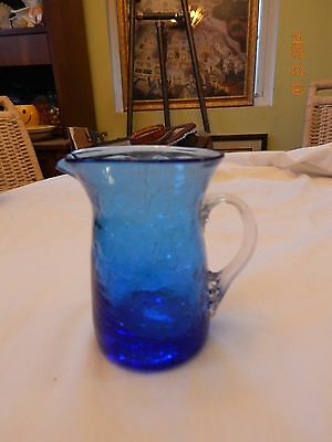 Pilgrim Blue Crackle Glass Small Pitcher w/ Ribbed Handle