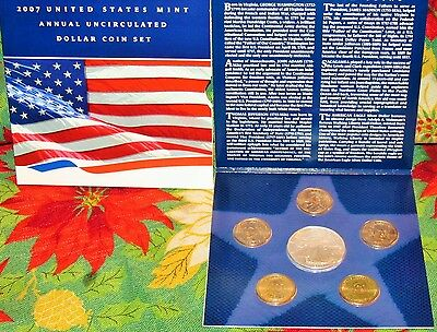2007 United States Mint Annual Uncirculated Dollar Coin Set with SILVER EAGLE