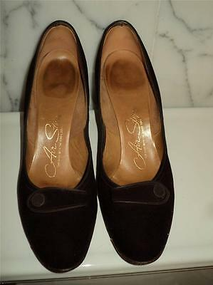 Vintage 1930-40 Brown Suede Pump Shoes sz 8.5 All Leather Hand Made Sz 9AAA