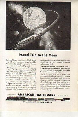 1947 AMERICAN RAILROAD AD TRAIN TRIP TO THE MOON Vintage Advertising