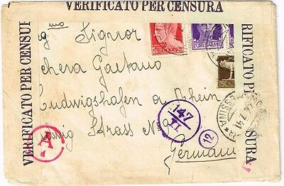 1941 Registered Italy cover to Germany - rare find
