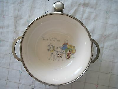 Child's Warming Dish This little Pig Went To Mkt Vintage/Antique Colonial Plate