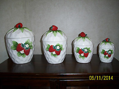 Vintage Lefton Strawberry Cannister Set - Lefton Ceramic China Strawberries (4)