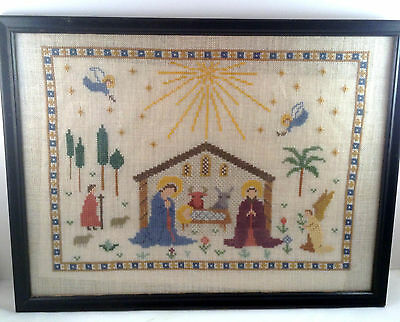 Haandarbejdets Fremme Nativity Linen Framed Completed Cross Stitch Ida Winckler