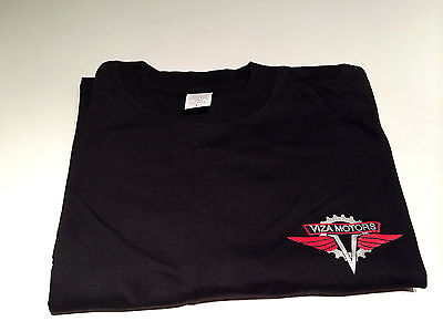 VIZA MOTORS Scooter Tee Shirt - BLACK WITH RED AND SILVER LOGO, L