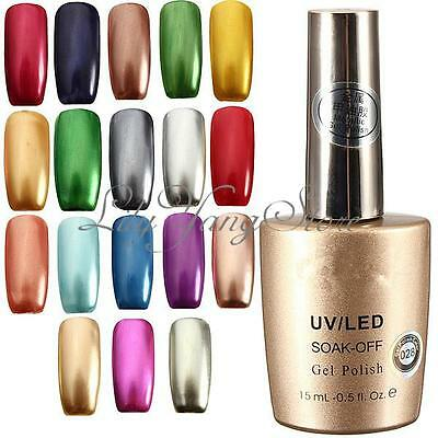 Set 5 Smalti Gel UV Semipermanenti Nail Art Ricostruzione Unghie Metallic Polish