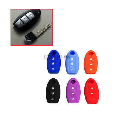 Silicone Key Fob Cover Jacket  Case Protective Cover For Nissan 3 Buttons