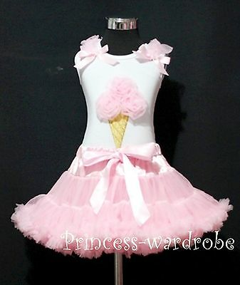 White Top Pink Ice Cream Pettiskirt Girl Shirt Skirt Clothing Outfit Set 1-8Year