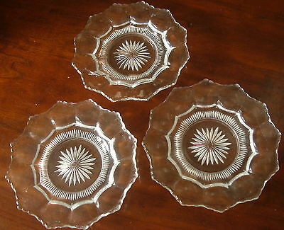 "Older Heisey 6"" Colonial Clear Bread & Butter Plates #300 Soft Sawtooth Edge x2"