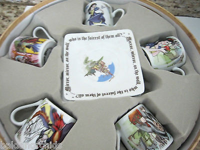 Paul Cardew SNOW WHITE Espresso Tea Party Cup & Saucer 8pc set NEW in Box