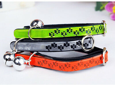1pc Mini Pet Dog PU Reflective Footprints Collar With Safety Bell New Style C301