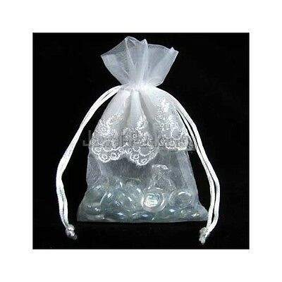 50 LACE White Organza Wedding Pouches Gift Jewelry Bag 9x14cm