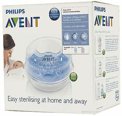 Philips Avent Compact Travel Microwave Steam Baby Bottle Steriliser BPA Free