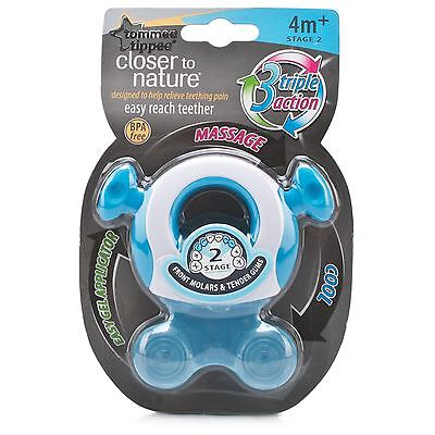 Tommee Tippee Closer to Nature Teether Stage 2 Baby Teething Soother - Boys/Blue