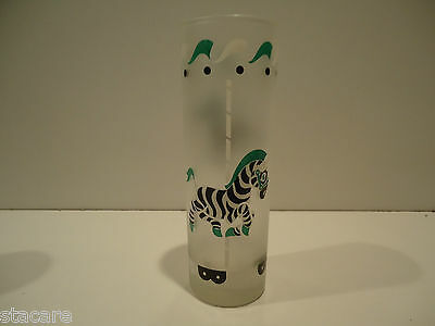 Vintage LIBBEY Tom Collins CAROUSEL Frosted Tumbler Glass - GREEN ZEBRA