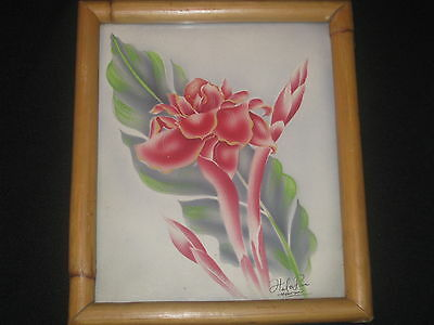 Hawaiiana Hale Pua Bamboo Framed Hand Signed Airbrush Print Torch Ginger