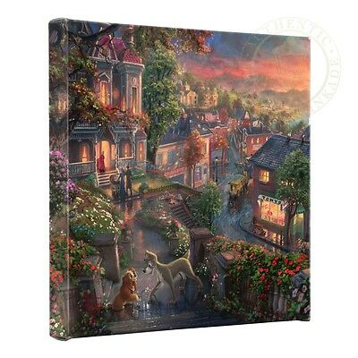 THOMAS KINKADE Lady and the Tramp 14 x 14 INCH Gallery Canvas Wrap