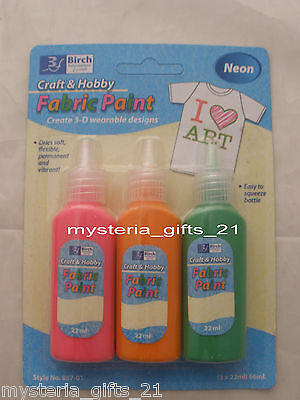 Fabric Craft Paint Hobby 3 Neon Colors Permanent Squeeze Bottle