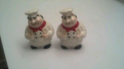 Fat French Italian Bistro Chef Salt & Pepper Shakers Kitchen Décor NEW