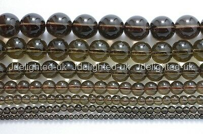 Natural Smoky Quartz Gemstone Round Beads 2mm 3mm 4mm 6mm 8mm 10mm 12mm 15.5""