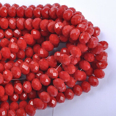 100pcs Opaque Red Czech Crystal Faceted Rondelle Spacer Beads 6X4MM