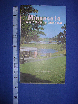 1975 MINNESOTA State Map Lady Slipper Walleye Agate pine photos Nice color WOW