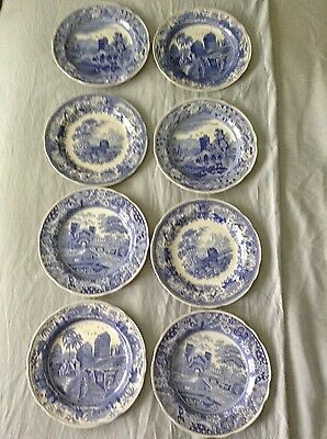 """8 DIFFERENT SPODE THE BLUE ROOM COLLECTION TRANSFERWARE CABINET PLATES 10 3/8"""""""