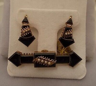 Victorian Black Onyx Pin and Earring Set (#347)