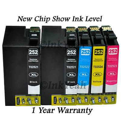 5 pk 252XL High Yield ink cartridges for Epson WorkForce WF-3620 3640 7110 7610