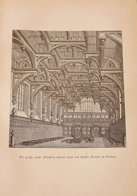 Middle Temple Hall - London - original 1882 - Honorable Society of Middle Temple