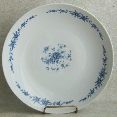 Elite Creation Blue Brocade Coupe Soup Bowl Blue and White Roses Floral Japan