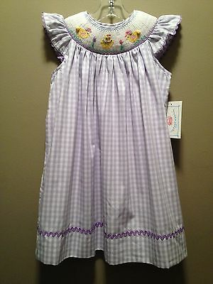 NWT Smocked Spring Chicks Lavender Check Dress Size 2T 3T 4T *Easter*