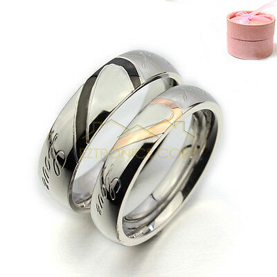 Couple Love Heart Stainless Steel Comfort Fit Wedding Bands Promise Ring US size