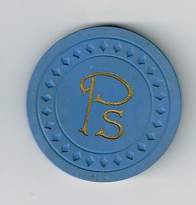 Ps DIAMOND MOLD BLUE POKER CHIP GREAT FOR ANY VINTAGE COLLECTION!